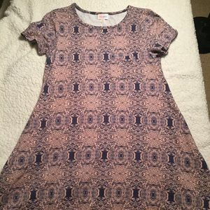 Lularoe Carly, blue and pink swirly pattern